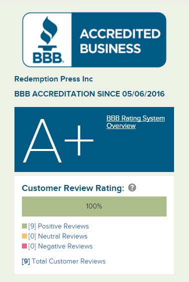 Redemption Press A+ Better Business Bureau Rating