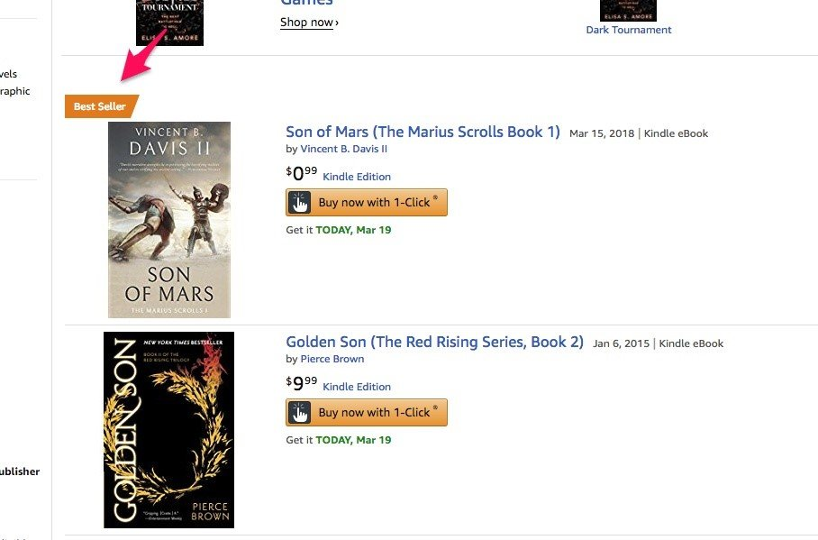 Screenshot of book on Amazon Bestseller list
